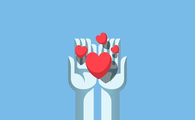 Handen die de liefdeillustratie delen Premium Vector