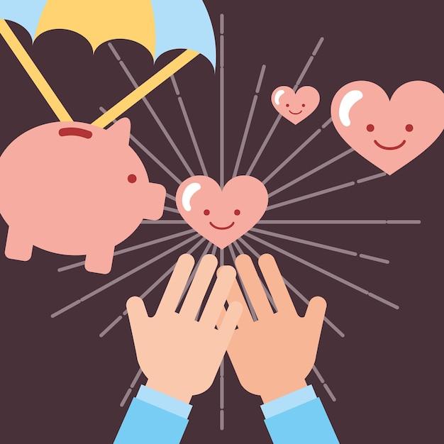 Handen die harten ontvangen houden van spaarvarken liefdadigheid Premium Vector