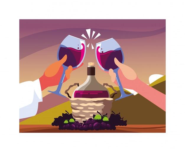 Handen die wijnglazen houden, de dag van de etiketwijn Premium Vector