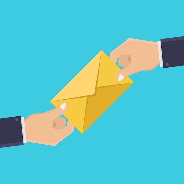 Handen en letters, brieven ontvangen, illustratie platte ontwerpstijl Premium Vector