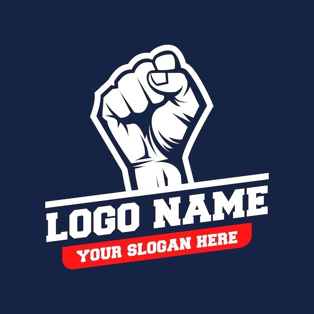 Handen gebalde logo-vector Premium Vector