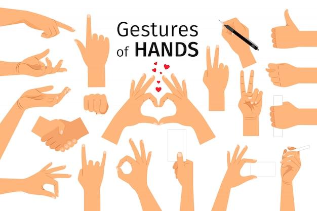 Handen gebaren geïsoleerd Premium Vector