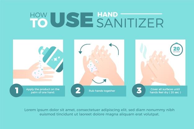 Handen goed infographic wassen met handdesinfecterend middel Gratis Vector