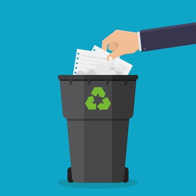 Handen gooien papier afval in vuilnisbakken vector illustratie Premium Vector