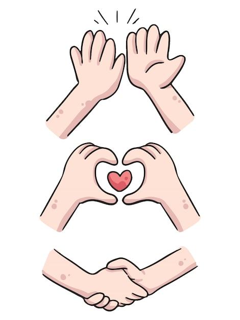 Handen hoog vijf, hart en handen schudden leuke cartoon illustratie Premium Vector