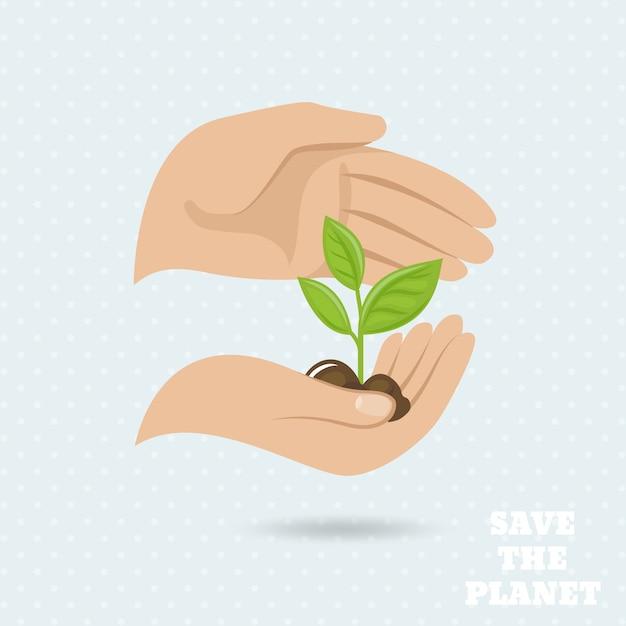Handen houden plantaardige spruit red de planeet aarde beschermende poster vectorillustratie Gratis Vector