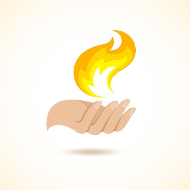 Handen houden vuur illustratie Gratis Vector