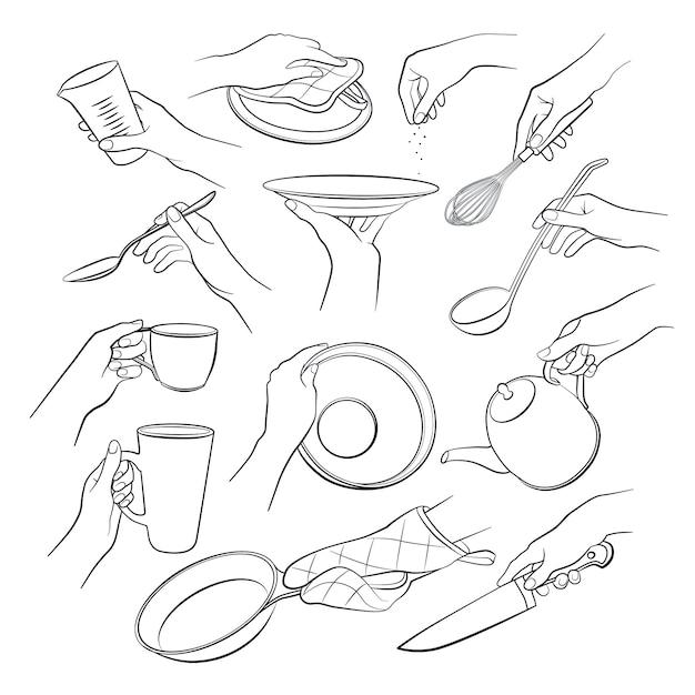 Handen koken set geïsoleerd op een witte achtergrond Premium Vector
