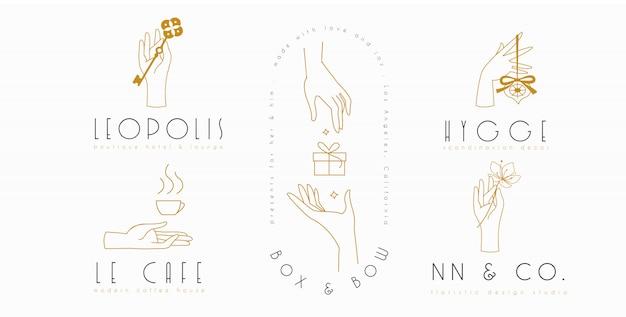 Handen logo ingesteld in minimalistische lijnstijl Premium Vector