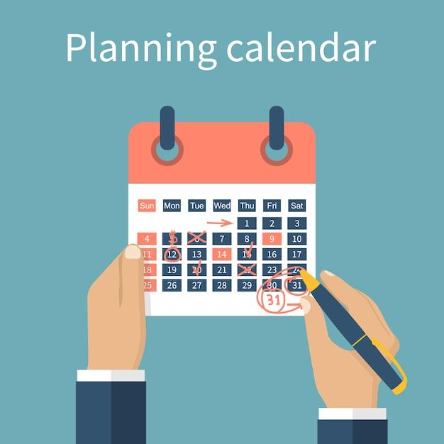 Handen markering kalender Premium Vector