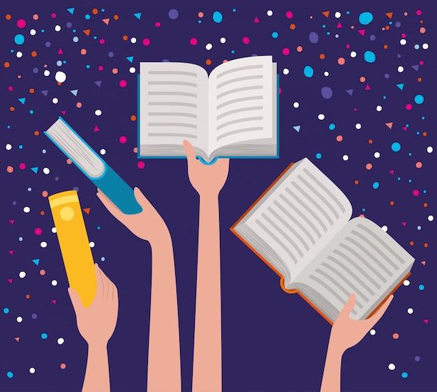 Handen met boeken Gratis Vector