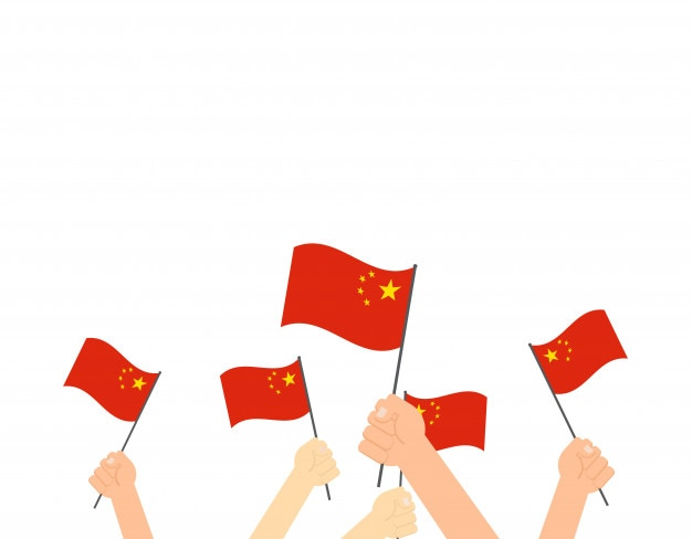 Handen met china vlaggen Premium Vector