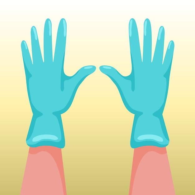 Handen met chirurgische handschoenen Gratis Vector