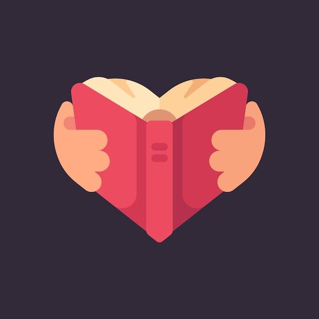 Handen met een boek in de vorm van een hart Premium Vector