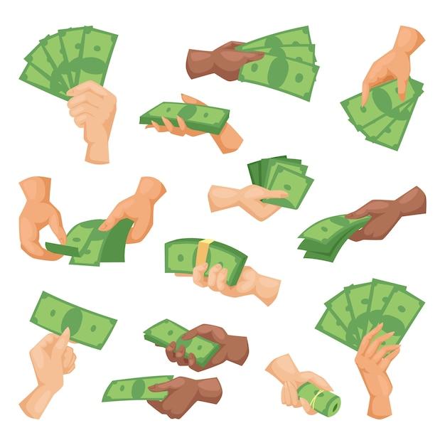 Handen met geld vectorillustratie geïsoleerd Premium Vector
