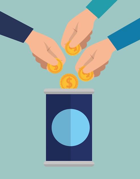 Handen met geld voor liefdadigheidsschenking Gratis Vector