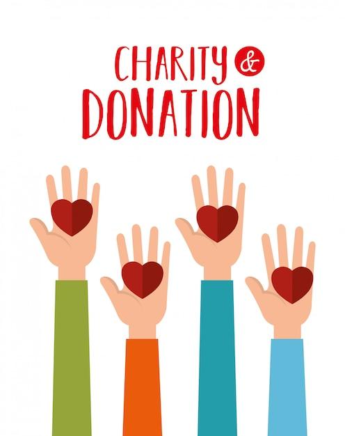 Handen met harten voor liefdadigheidsschenking Gratis Vector