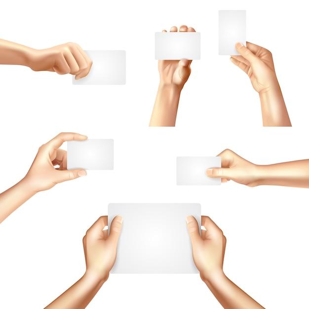 Handen met lege kaarten poster Gratis Vector
