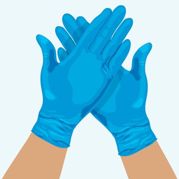 Handen met medische handschoenen Gratis Vector