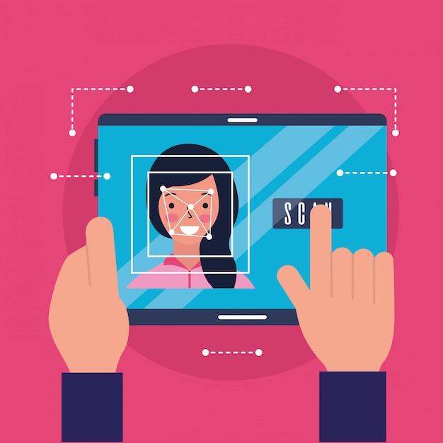 Handen met mobiele vrouw gezicht scannen Gratis Vector