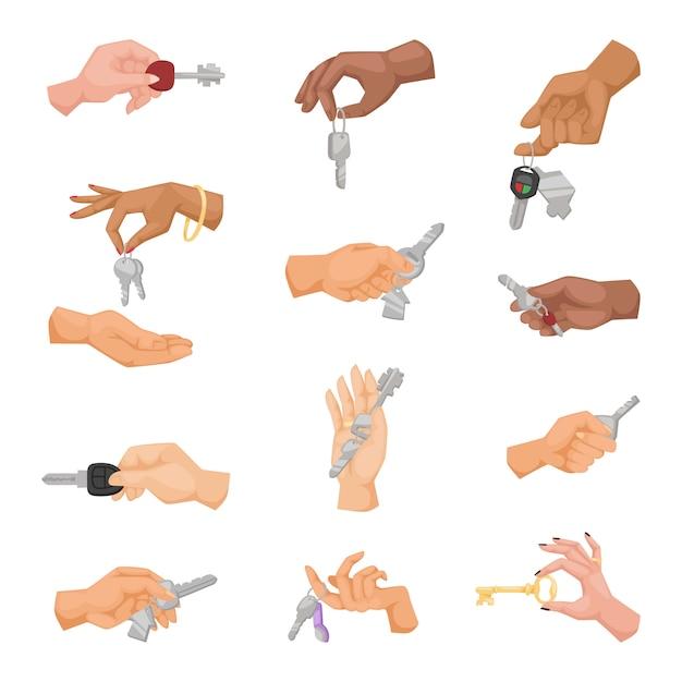 Handen met sleutels instellen. Premium Vector