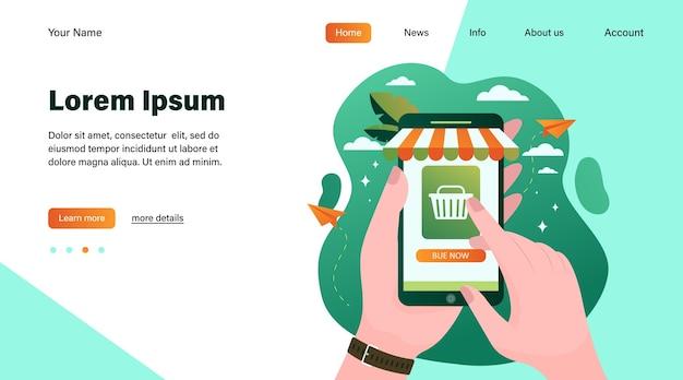 Handen met smartphone en online winkel kopen. telefoon, verkoop, koper platte vectorillustratie. winkelen en digitale technologie concept websiteontwerp of bestemmingswebpagina Gratis Vector