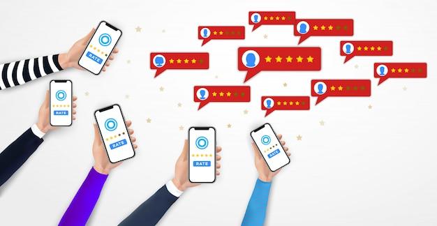 Handen met smartphone, mobiele beoordeling app. vijf sterren. feedback, getuigenis, stemmen Premium Vector