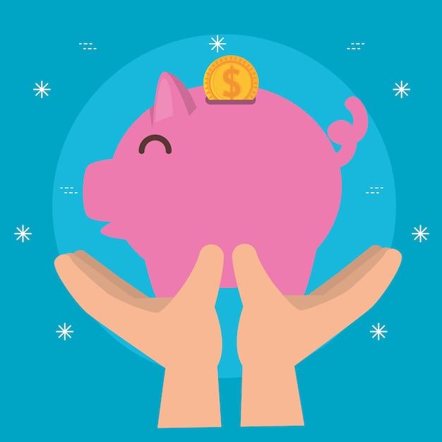 Handen met spaarvarken voor liefdadigheidsschenking Gratis Vector