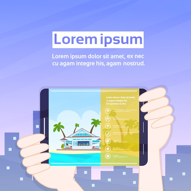 Handen met tablet met app huren Premium Vector