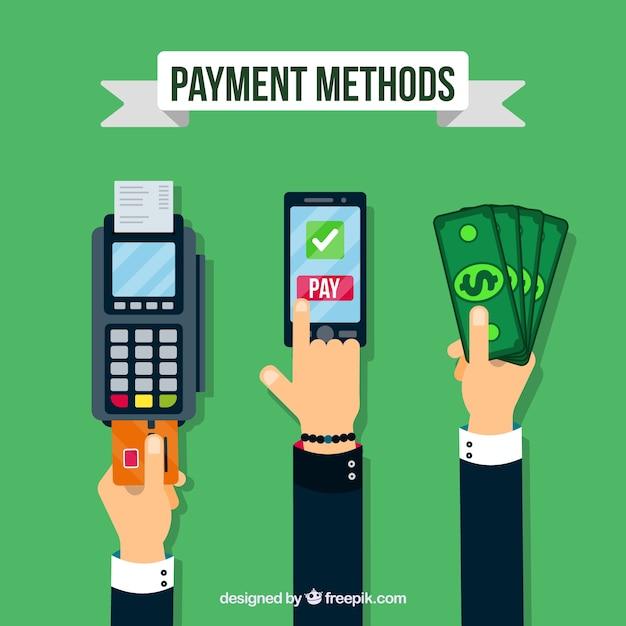 Handen met verschillende betaalmethoden Gratis Vector