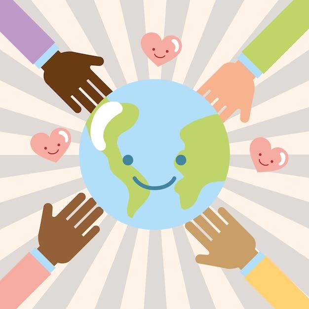 Handen multiethnic wereld kawaii liefde doneren naastenliefde Premium Vector