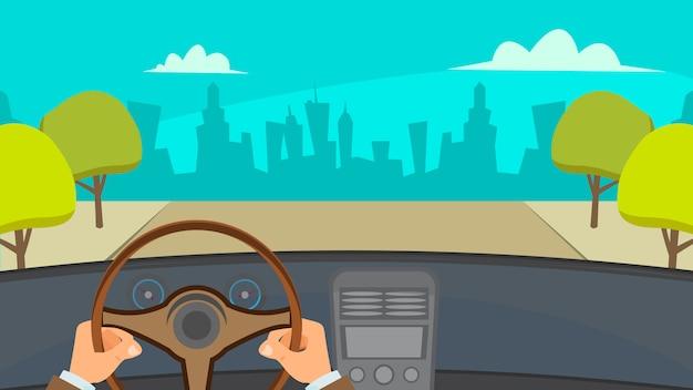 Handen rijden auto Premium Vector