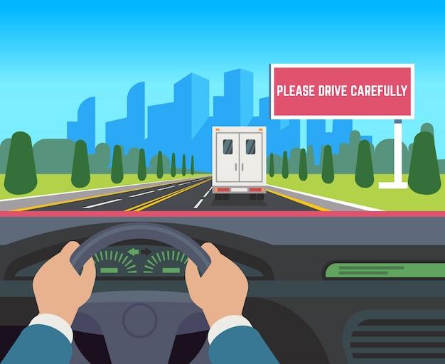 Handen rijdende auto. auto binnen de snelheidsweg die van de dashboardbestuurder het aanplakbord vlakke illustratie van het straatverkeer inhalen Premium Vector