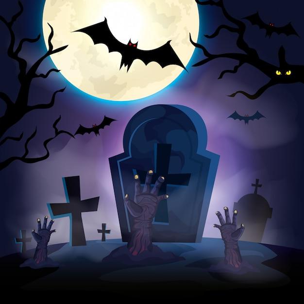 Handen van zombie in de donkere de scèneillustratie van nachthalloween Premium Vector