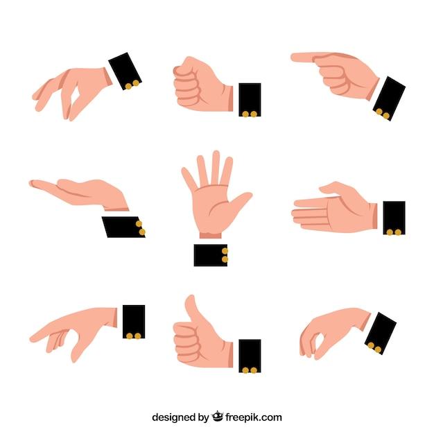 Handen verzamelen met verschillende poses in platte syle Gratis Vector