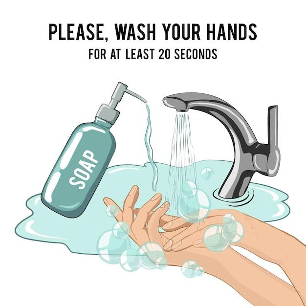 Handen wassen met zeep minstens 20 seconden Gratis Vector