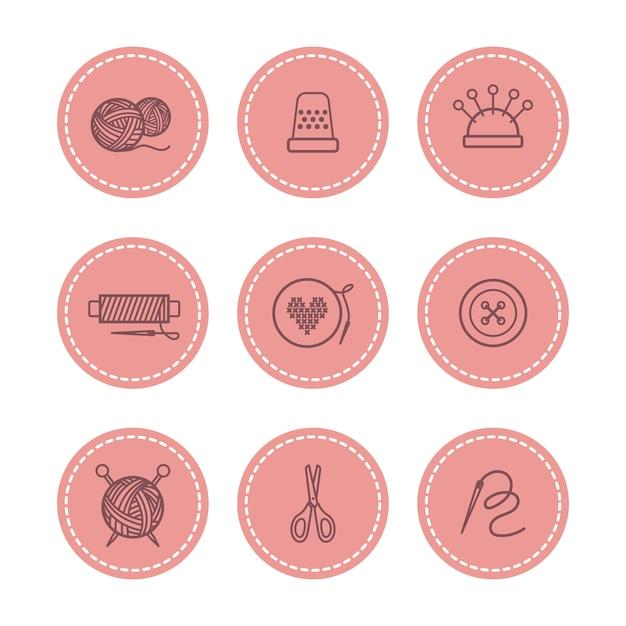 Handgemaakt en naaien badges ingesteld Premium Vector