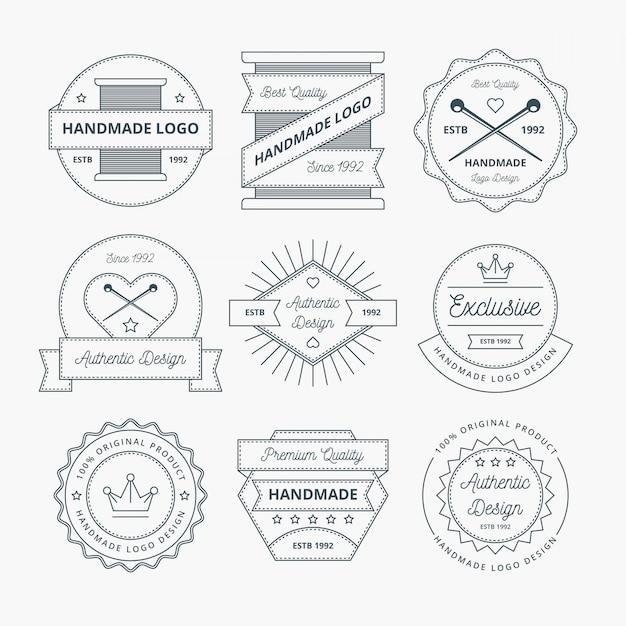 Handgemaakt logoontwerp Premium Vector