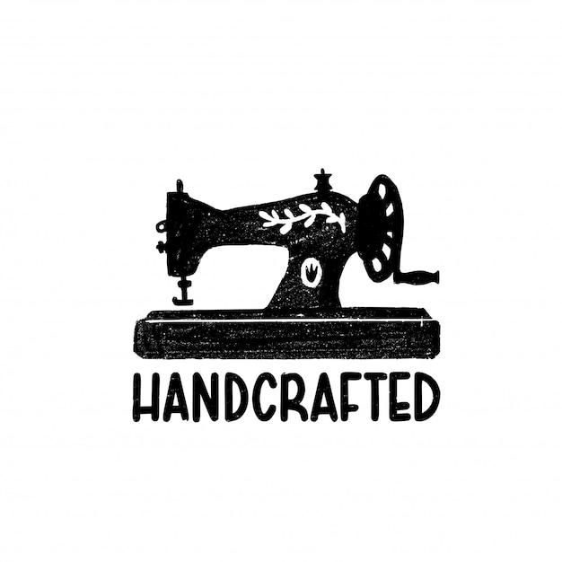 Handgemaakt pictogram of logo. vintage stempel icoon met een retro naaimachine en met de hand gemaakt Premium Vector