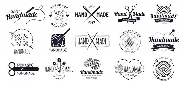 Handgemaakte badges. hipster ambachtelijke badge, vintage workshop labels en handwerk logo illustratie set Premium Vector