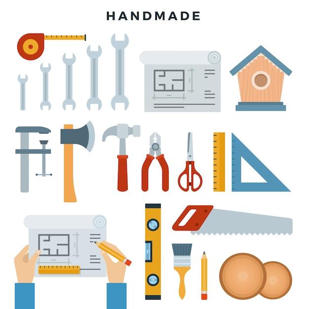 Handgemaakte concept illustratie. werktools, instellen. doe het zelf. vectorillustratie in vlakke stijl. Premium Vector