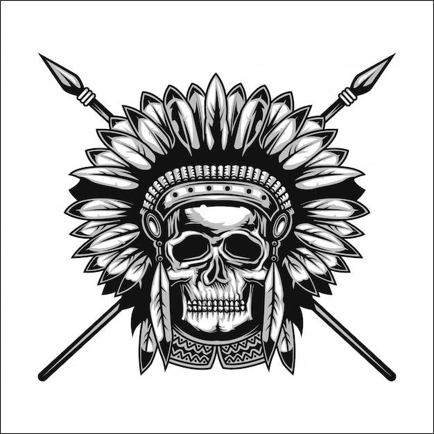 Handgemaakte poster of t-shirt met een schedel van indianen met speren en een hoed. Premium Vector