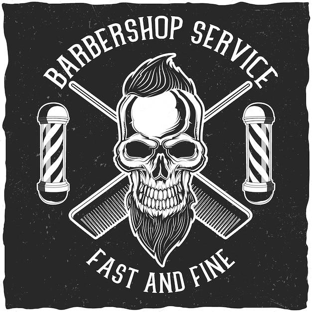 Handgemaakte posters of t-shirt ontwerpen met kappersuitrusting en een hipster's schedel met baard en een kapsel. Premium Vector