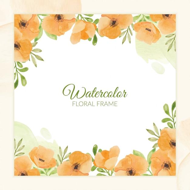 Handgeschilderd aquarel bloemen frame voor wenskaart Premium Vector