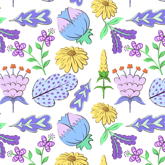 Handgeschilderd exotisch bloemenpatroon Gratis Vector