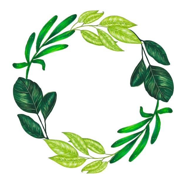 Handgeschilderd met markers bloemenkrans met takje, tak en groene abstracte bladeren Gratis Vector