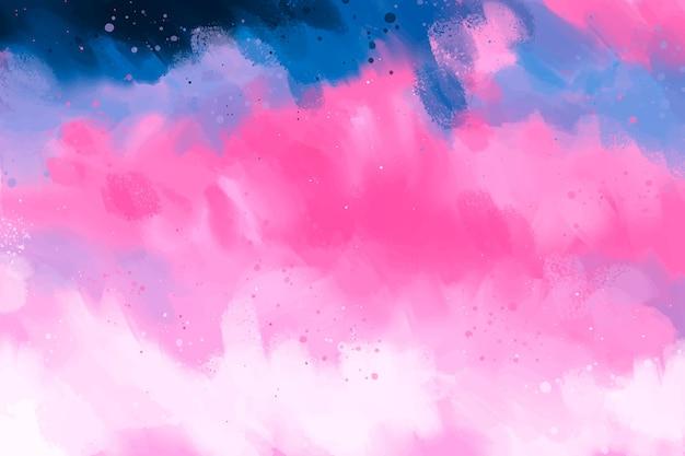 Handgeschilderde achtergrond in roze en blauw kleurverloop Gratis Vector