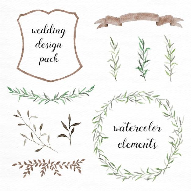 Handgeschilderde aquarel elementen pak voor bruiloft ontwerpen Gratis Vector