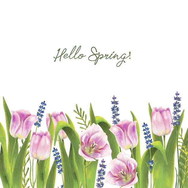 Handgeschilderde aquarel grens met lente tulpen Premium Vector