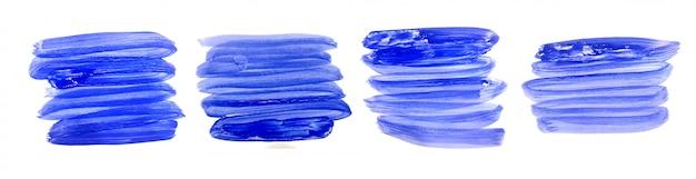 Handgeschilderde aquarel penseelstreek in blauwe kleuren Gratis Vector